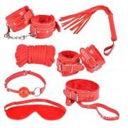 BDSM Anfänger-Set Fesselset Fetisch Toys 7teilig rot - FS7red