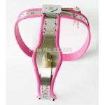 Keuschheitsgürtel Damen Edelstahl rosa Silikonrand Ladys Chastity Belt W392