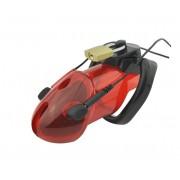 Keuschheitskäfig für Penis mit Elektroden/Stromanschluß Glied Mann Herren Polycarbonat rot transparent A178-1
