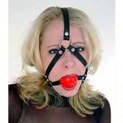 Ballknebel Kopfgeschirr Harness Silikonball rot 08009-R