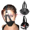 Kopfharness Knebel Kopfgeschirr Ballknebel mit Lederhülle Mund und Kinn PU AF002500