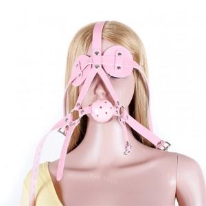 Ballknebel Mundknebel pink Harness mit Luftlöcher Augenmaske ASL10010