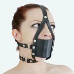 Kopfharness Knebel Kopfgeschirr Ballknebel mit Mundschutz PU C100644black - LAGERWARE