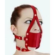 Kopfharness Knebel Kopfgeschirr Ballknebel rot mit Mundschutz PU C100644red