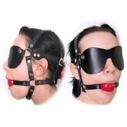 Kopfharness Knebel Kopfgeschirr Ballknebel Harness Augenmaske Mundknebel Silikon MBKS1