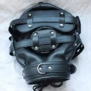 Maske Kapuzenhaube Vollmaske Leder komplett geschlossen schwarz - MLK1