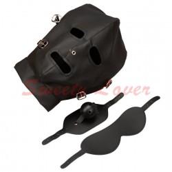 Maske Kapuzenhaube Vollmaske Kunstleder mit abnehmbarer Augenbinde und Knebel schwarz SL00260